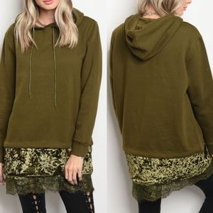 AVERY Lace Detail Sweater - OLIVE